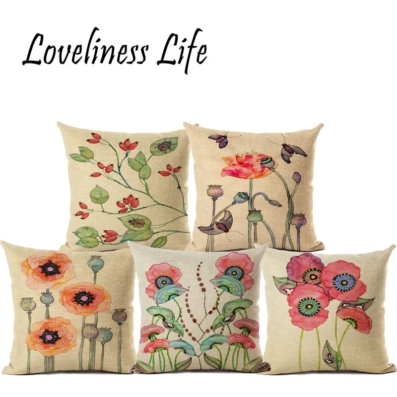 Flower Pillows Case 3D Print Cushions Linen Cartoon Printing Cover Decorations