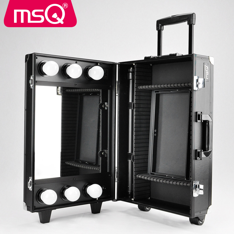 MSQ Makeup Tools High-capacity Multi-layer Cosmetic Case Professional with LED Light Portable Rod Holder Storage Box with Wheels spark storage bag portable carrying case storage box for spark drone accessories can put remote control battery and other parts