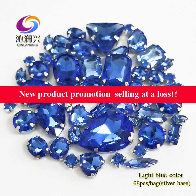 Fabryka sprzedaży 68 sztuk/worek światła niebieski mix rozmiar góry szklane kryształki górskie, mix kształt szyć na kamienie dla majsterkowiczów/akcesoria odzieżowe