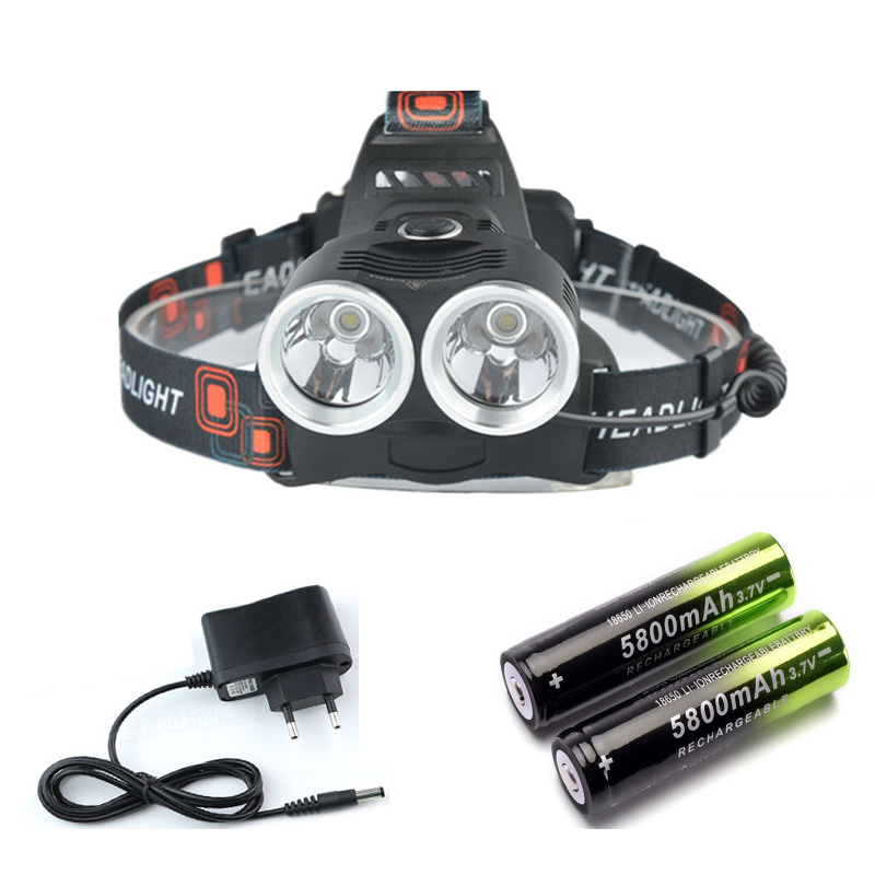8000Lumen 2 XM-L T6 LED Headlight Headlamp Flashlight 3-modes 18650 Head Torch Lamp 2T6 +2x 18650 battery +Charger For Camping