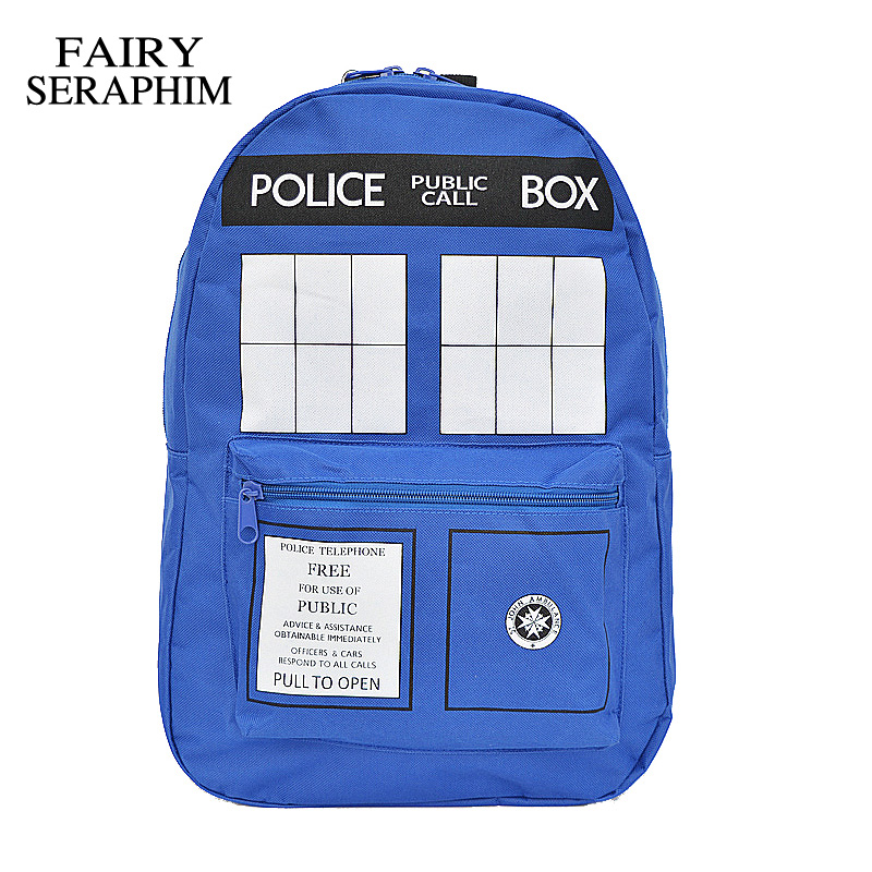 FAIRY SERAPHIM Fashion Doctor Who Tardis backpack teenager rucksack work bags men Dr who student school bag