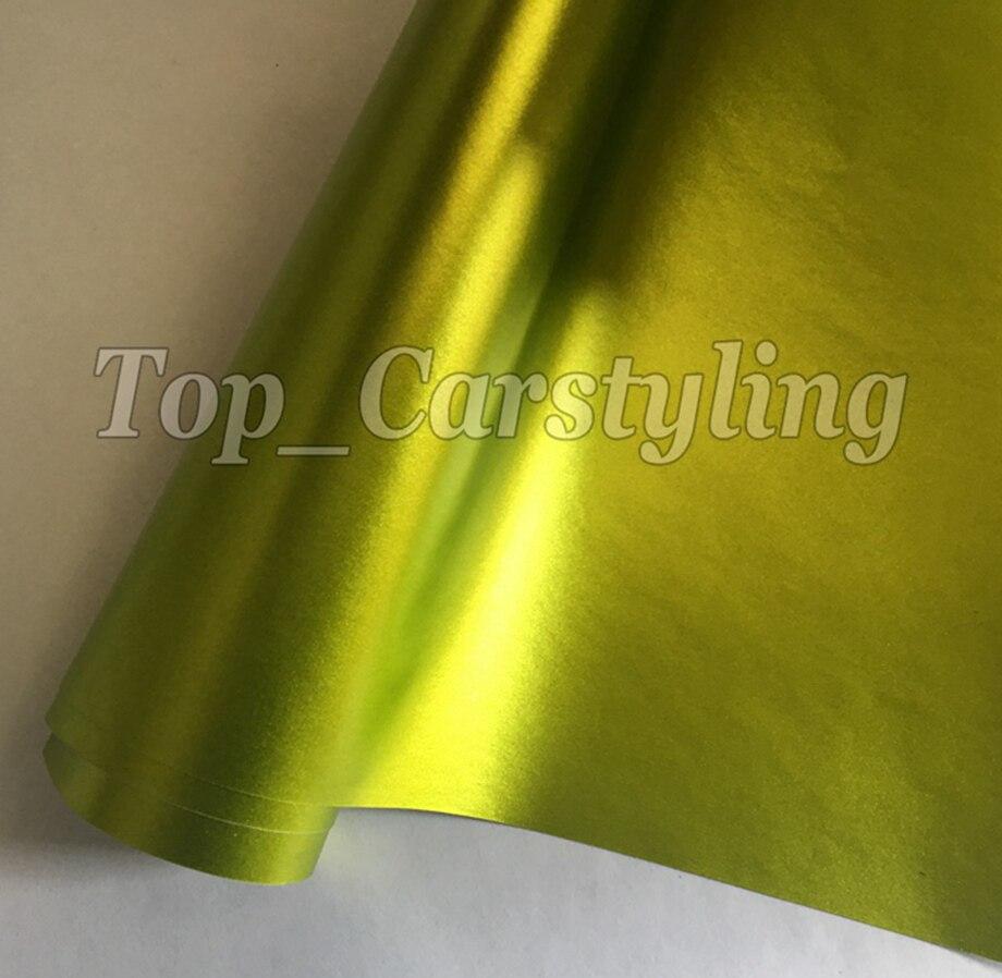 Citron fluo mat chrome Vinyle film de protection pour voiture Pour La COUVERTURE De Voiture DE style Avec Air Svp, PROTWRAPS 1.52x20 m/Roll