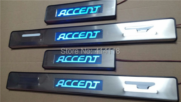 stainless steel LED Door Sills, car door sill, led sill plate, scuff plate HYUNDAI ACCENT - VOYAUTO CO.,LTD store