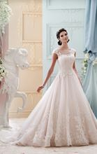 Cheap peach colored wedding dresses 2016 a line tulle with cap sleeves applique bridal gowns dresses vestido de noiva UD-216