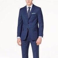 Темно синий мужской костюм в клетку Glen Check на заказ, приталенный костюм в клетку Glen Plaid, костюм из двух предметов цена клетчатый костюм окошко