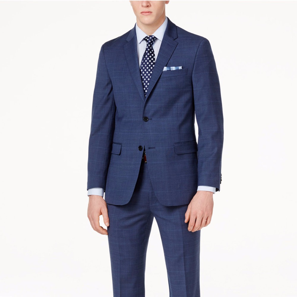 Navy Blue Glen Check Men Suit Custom Made Slim Fit Glen Plaid Two-piece Suit Men Prince Of Wales Checkered Suit with Windowpane vestidos de inverno zara 2018