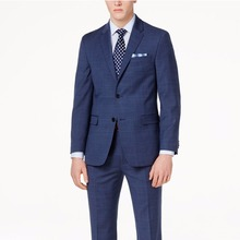 Navy Blue Glen Check Men Suit Custom Made Slim Fit Glen Plaid Two piece Suit Men Prince Of Wales Checkered Suit with Windowpane