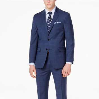 Navy Blue Glen Check Men Suit Custom Made Slim Fit Glen Plaid Two-piece Suit Men Prince Of Wales Checkered Suit with Windowpane - DISCOUNT ITEM  0% OFF All Category