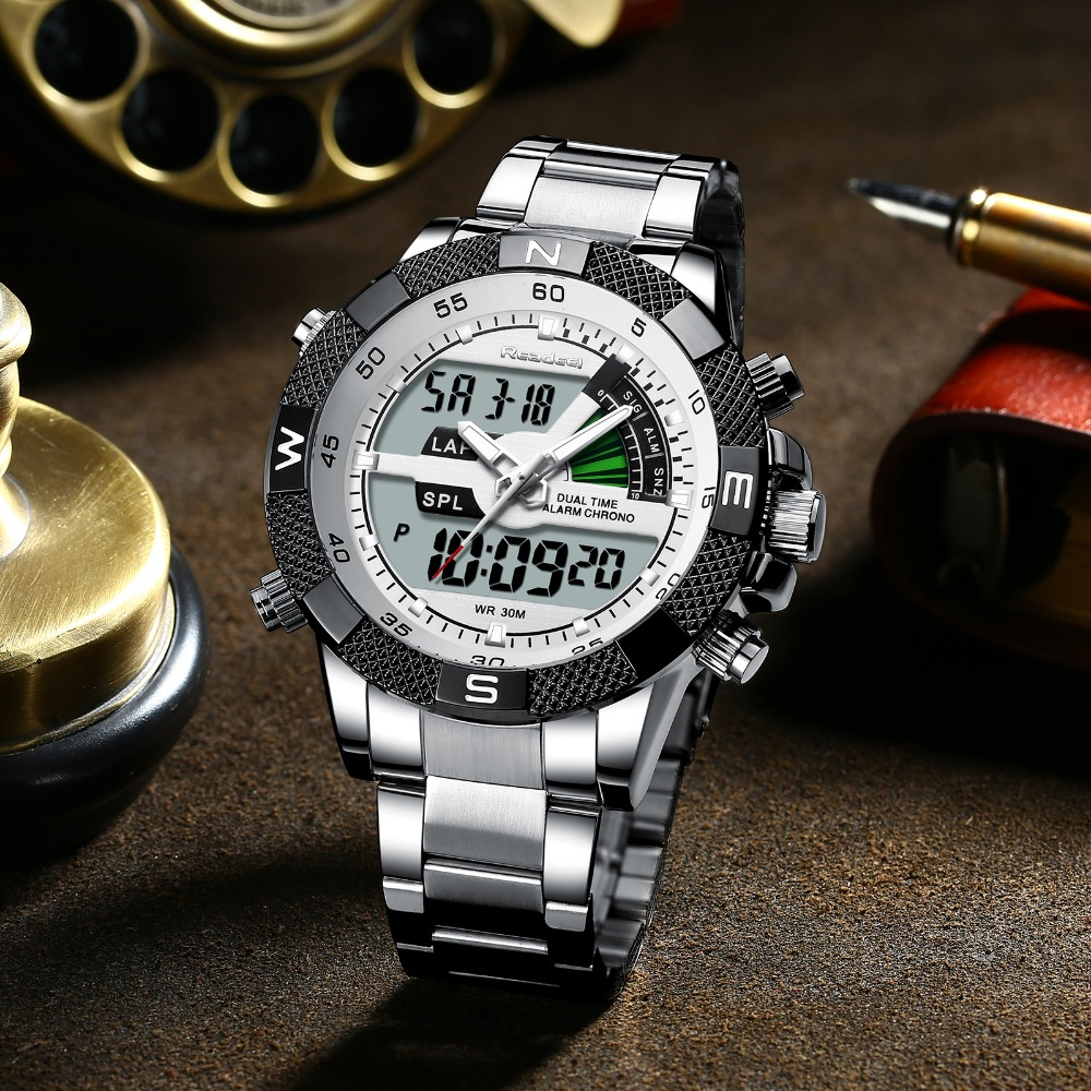 Image 3 - Fashion Luxury Brand Men's Watch Mens Sport Watch LED Quartz Watches Stainless Steel Army Military Wristwatch Relogio Masculino-in Quartz Watches from Watches