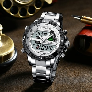 Image 3 - Fashion Luxury Brand Mens Watch Mens Sport Watch LED Quartz Watches Stainless Steel Army Military Wristwatch Relogio Masculino