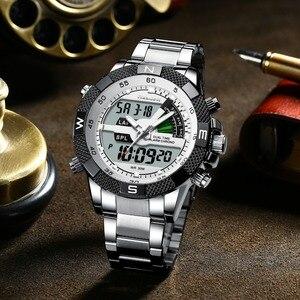Image 3 - Moda Lüks Marka erkek saati Erkek Spor Izle LED kuvars saatler Paslanmaz Çelik Ordu Askeri Kol Saati Relogio Masculino