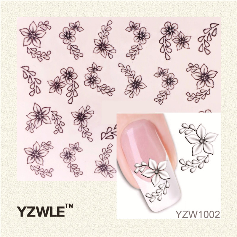 YZWLE Fashion Style Watermark 1 Sheets 3D Design Pretty White Flower Tip Nail Art Nail Sticker & Decal yzwle 3d french style white lace bow nail art sticker decal manicure tip nail art decoration xf ju079