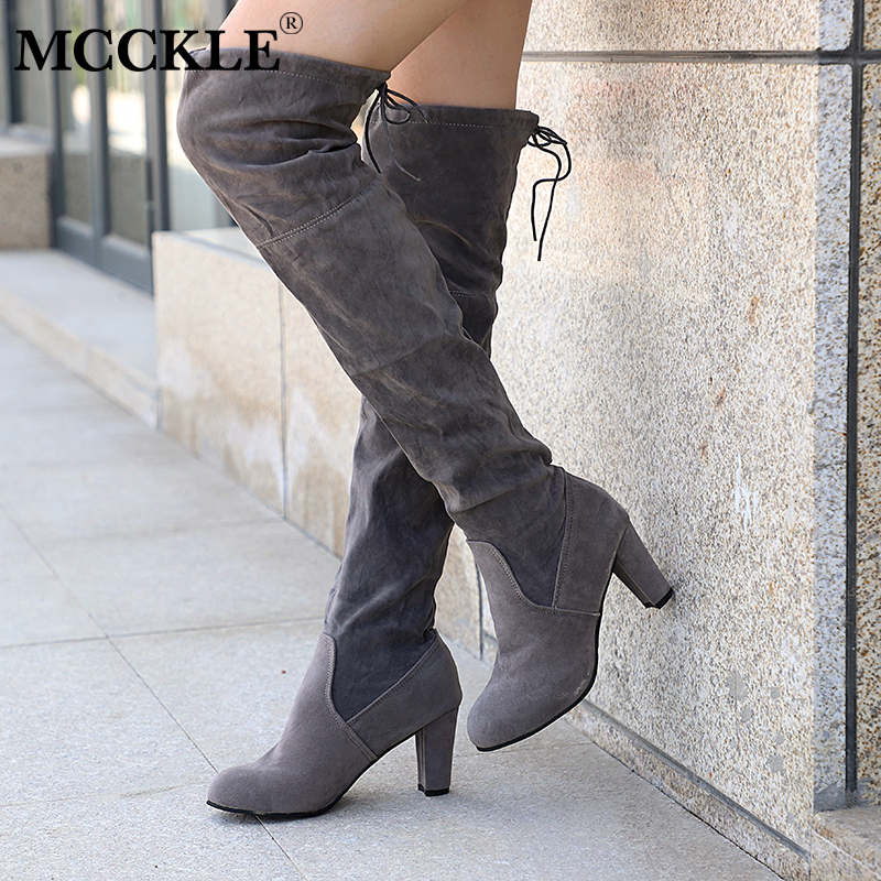 MCCKLE Plus Size Fashion Female Winter Thigh High Boots Faux Suede Leather High Heels Women Over The Knee Shoes Drop shipping drop shoulder high low plus size tunic sweater
