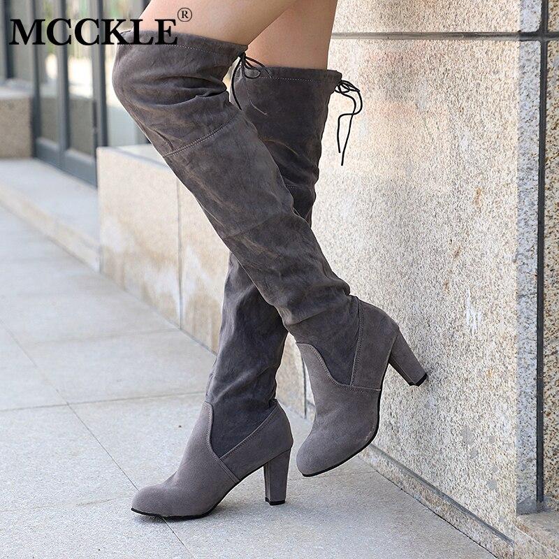 MCCKLE Plus tamaño de moda de mujer de invierno de alta del muslo botas de gamuza de cuero de los tacones altos de las mujeres por encima de la rodilla de gota envío