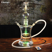 Glawaer Russian Style Glass Hookahs Shisha Wholesale High Quality Smoking Pipe Remote Multicolor LED Narguile Chicha