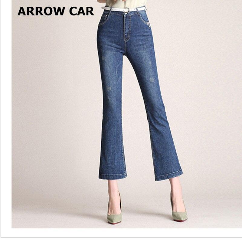 Les femmes Denim Pantalon 2018 D'été Nouveau Klaxon Neuf Points décontracté Taille Haute Slim Stretch Jeans Bleu Dames Pantalons Femmes Jeans