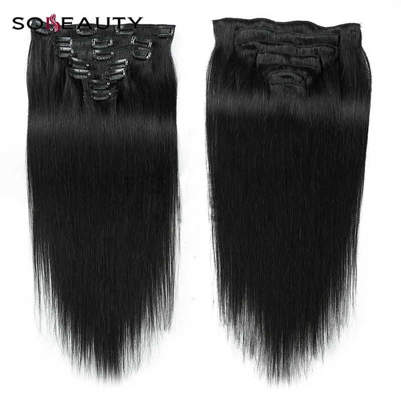sobeauty silky Straight Machine Made Remy Hair Clip In Human Hair Extensions 100% Human Hair 1B# 2#Clip Ins 7piece/set(China)