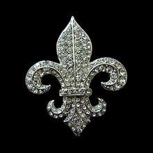 2 Inch Rhodium Silver Vintage Style Fleur De Lis Rhinestone Diamante Party Brooch