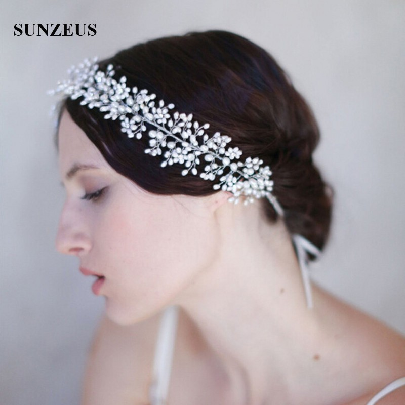 Accessoires Cheveux Mariage Pearls Head Chain 2019 New Fashion Wedding Hair Accessories For Brides Hair Sash SQ132
