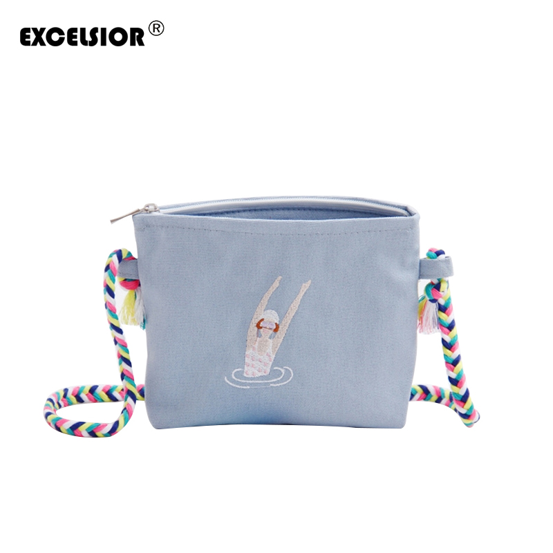 EXCELSIOR 2018 Summer women messenger bags Fashion Embroidery Canvas Cartoon Crossbody Shoulder Bags Small Female Handbags tote