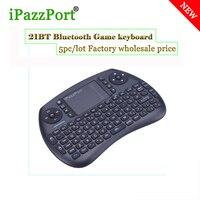 IPazzport 5 pc Angielski Bezprzewodowy Bluetooth Mini klawiatura z Touchpadem QWERTY klawiatury do gier PC, Smart TV BOX Mini PC ukleja