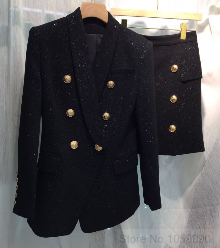 Negro Starry Sniny Mini Falda Mujer frontal oro botón doble pecho con bolsillos dorados cremallera trasera-in Faldas from Ropa de mujer    1