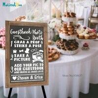 Гостевая книга Photo Booth настроены имя симпатичный дизайн свадебных Приём знак приветственная Стикеры наклейка B880