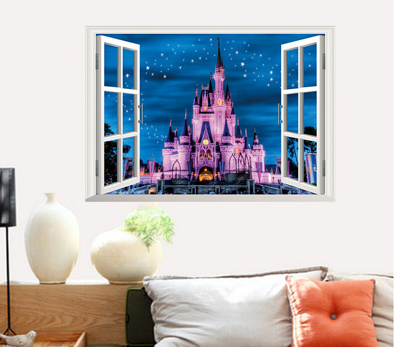 Cartoon 3d floor prinecess tower castle wall decals mural for Castle mural kids room