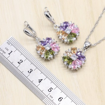 925 Sterling Silver Jewelry S Multicolor Stones Cubic Zirconia Jewelry Sets For Women Earrings/Pendant/Necklace/Ring/Bracelet 2