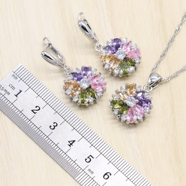 Jewelry Sets 925 Sterling Silver Multicolor Cubic Zirconia Stones Earrings/Pendant/Necklace/Ring/Bracelet