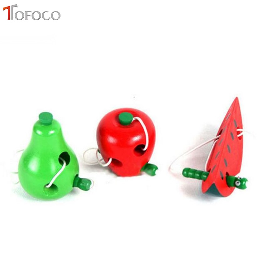 TOFOCO Baby Montessori Early Educational Toys Wooden Worm Eat Fruit Learning Toys For 0-7 Year Children Apple Peach Watermelon