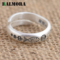 BALMORA New Fashion Ring 100 Real 990 Pure Silver Jewelry Lovely Fish Opening Rings For Women