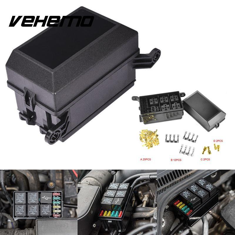 Caja de fusibles para coche Vehemo DC 12 V 20A 6 bloque de relé 5 Road para coche Nacelle soporte de seguro automóvil duradero