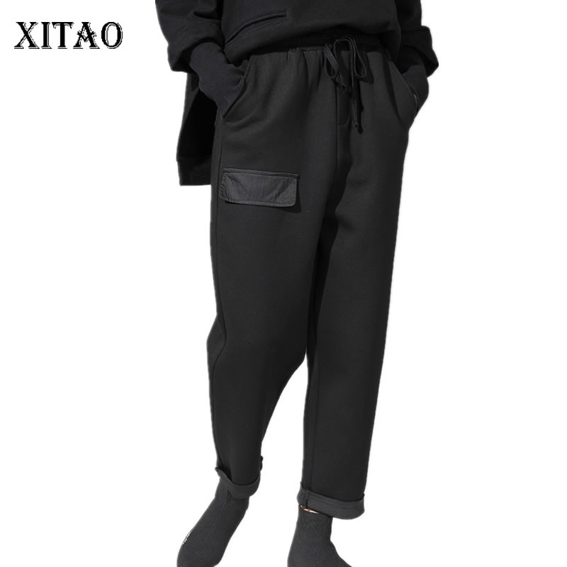 XITAO 2019 Spring Summer Korea Fashion New Solid Color Harem Pants Female Loose Bandage Casual