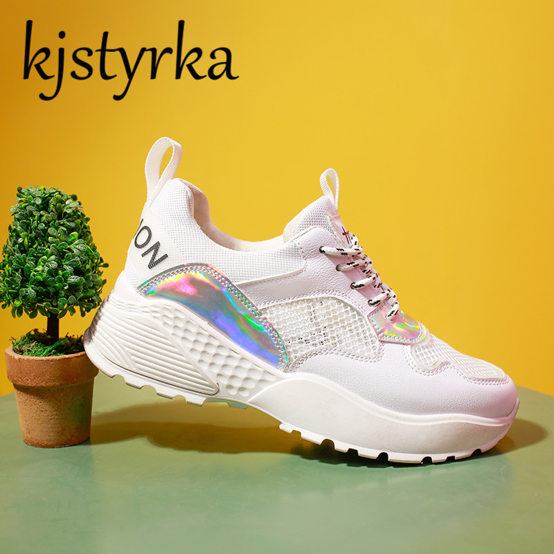 Kjstyrka New 2018 Women Spring Leisure Casual Shoes Flat Heel White Mesh Fashion Comfortable Female Platform Sneakers Lace-up
