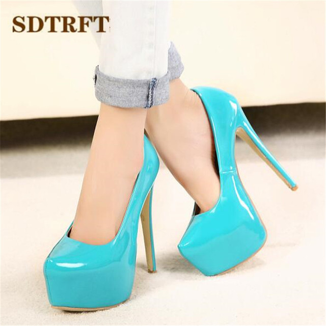 SDTRFT Plus:35-44 zapatos mujer 15cm thin high heels Patent leather platform wedding shoes woman sexy Crossdresser SM pumps 3