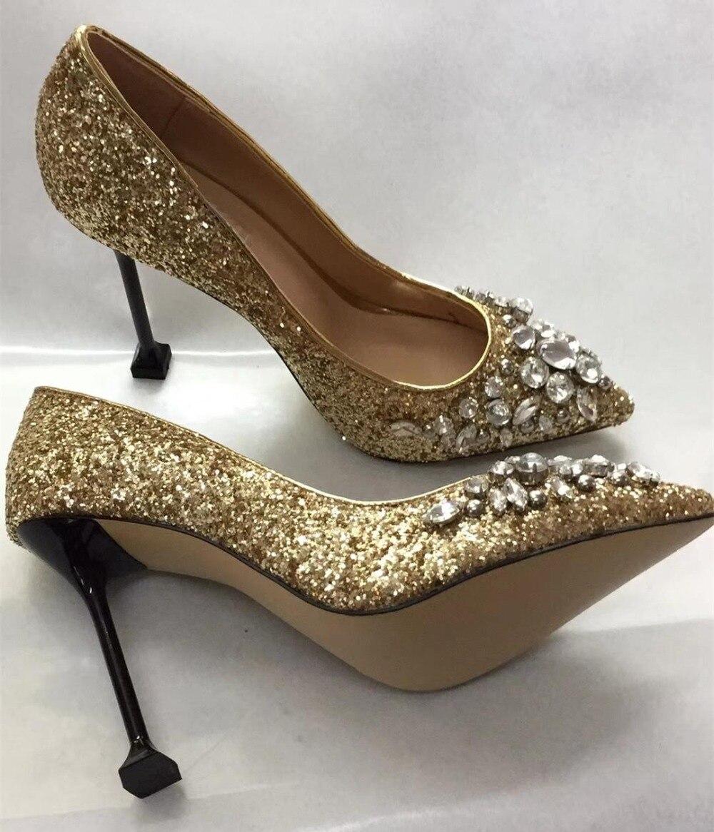 Pumpen By484 Frühling Hochzeit Bling Strass Frauen Spitz Mode Schwarzes Herbst gold Chic Schuhe Heels High Diamanten 2018 6wRBR