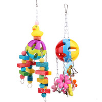 Newest Acrylic Bird Toys Colorful Pet Parrot Macaw Chew Toys Pets Birds Cage Hanging Bait Toys