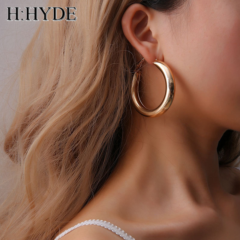 H Hyde New Geometric Circle Oversize Earring Set For Women Vintage Wide Statement Hip Hop Hoop Las Jewelry Whole