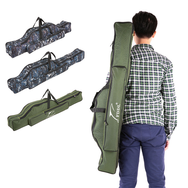 Special Offers 90/110cm Portable Fishing Rod Lures Storage Bag Multifunctional Double Layer Outdoor Fishing Bag Fishing Tackle Bag
