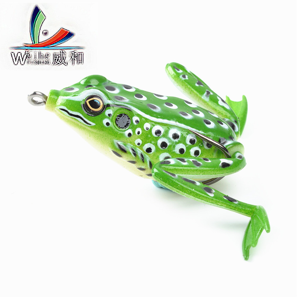 WEIHEFISHING  Brand 1Pcs Artificial Silicone Rubber Soft Bait Thunder Frog Lure Toad Bait 5CM 12G Lures For Winter Black Fish 1pc 5 5cm 13g frog lure fishing lures treble hooks top water ray frog artificial minnow crank strong artificial soft bait
