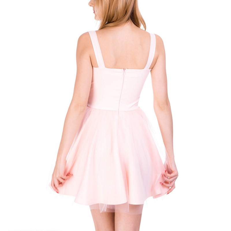 Black High Waisted Spaghetti Strap A-line Pleated Women Skater <font><b>Dress</b></font> backless Ladies <font><b>Dresses</b></font> Sweet Summer Woman <font><b>Tulle</b></font> <font><b>Dresses</b></font>