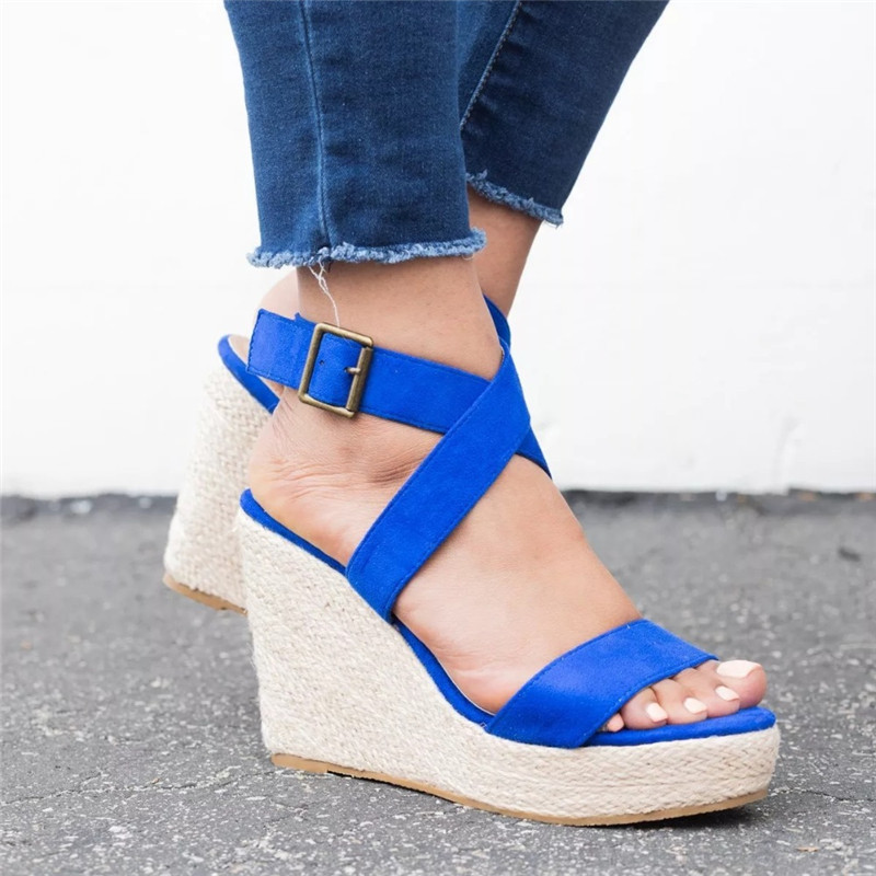 Leopard Wedge Sandals Summer Peep Toe Flock Buckle Strap Women Platform Espadrilles Sandal Plus Size 43 High Heels Shoes Female  (4)