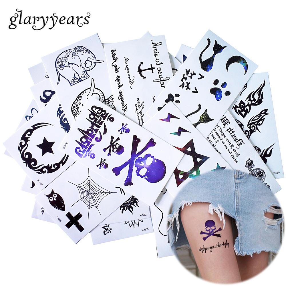 glaryyears 25 Designs X 1 Sheet 10.5*6cm Black Tiny Temporary Tattoo Sticker Leg Hand Body DIY Art Makeup Tattoo Moon Decal Cute