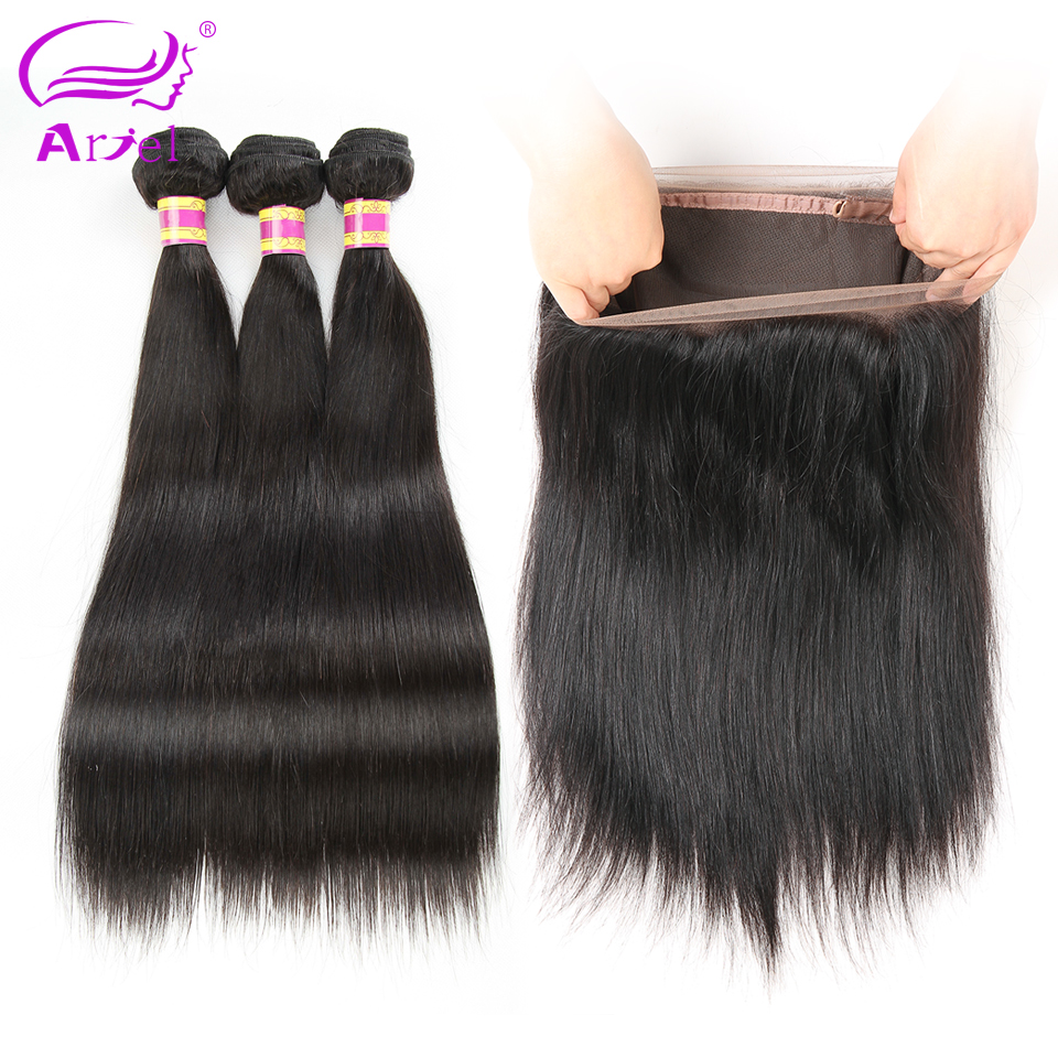 Ariel Peruvian Straight Hair With 360 Lace Frontal Closure Non Remy Human Hair 3 Bundles With
