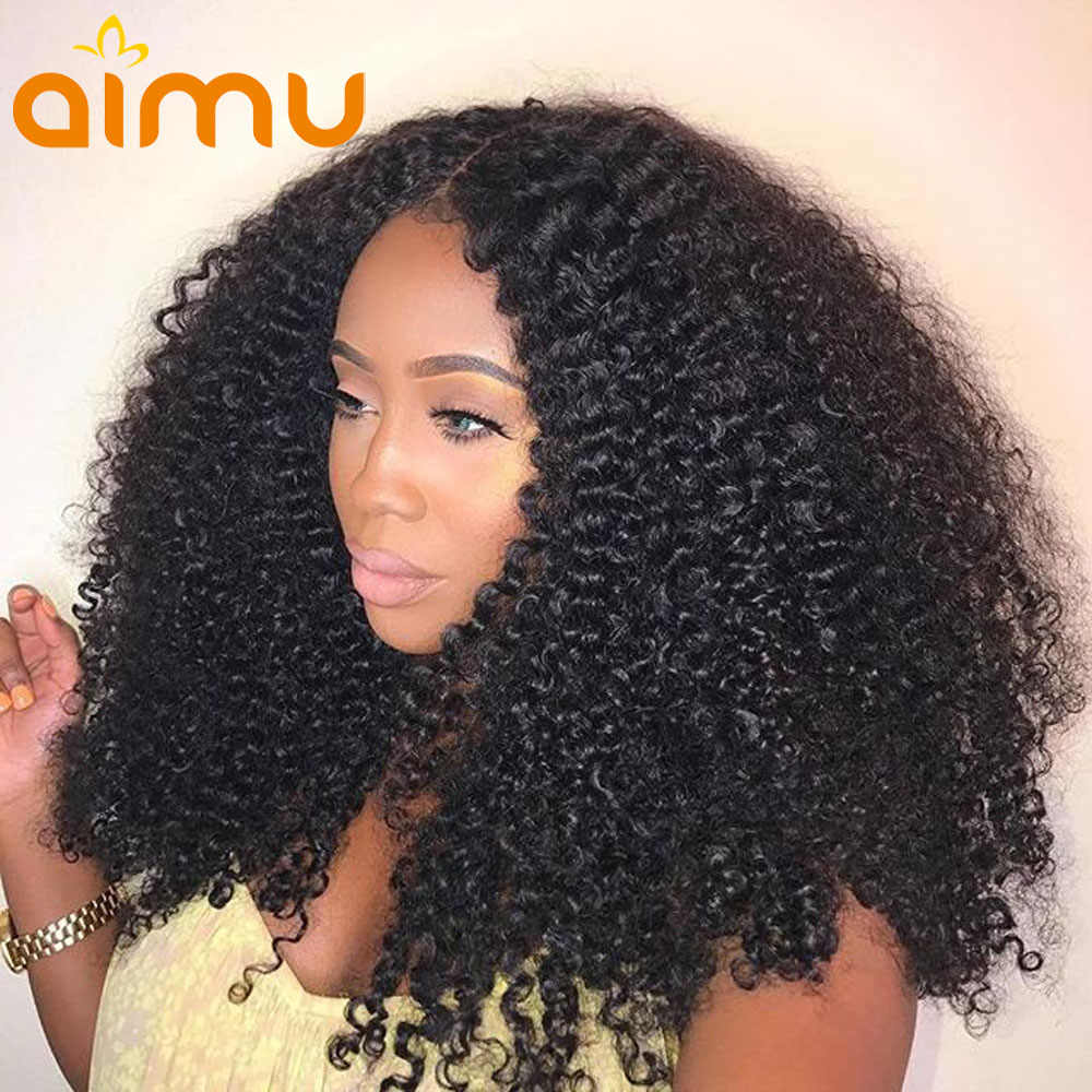 Kinky Curly 13*6 Lace Front Wigs Brazilian Glueless Free Part 250 Density Afro Kinky Curly Hair Lace Front Human Hair Wigs