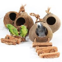 Wood Climbing Ladder Grinded Coconut Shell Pet Bird Toy Macaw Cockatiel Parrot Hamster Climb Bell Swing