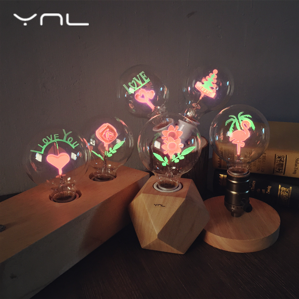 Vintage Edison Bulb E27 220v G80 Flamingo Flower Love Rose Holiday Night Light Indoor Incandescent Light Christmas Wedding Decor