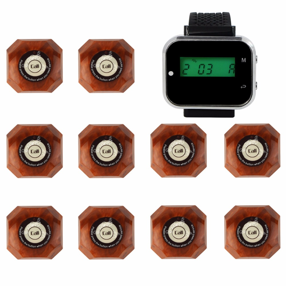 4 Color 433.92MHz 1 Watch Receiver+10 Call Button Restaurant Pager Wireless Calling System Catering Equipments F3293 service call bell pager system 4pcs of wrist watch receiver and 20pcs table buzzer button with single key