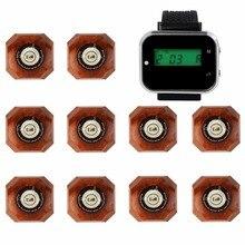 4 цвета 433.92 мГц ресторан пейджер Беспроводной вызова Системы 1 часы наручные приемник + 10 кнопку вызова питание оборудования F3293